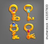 golden cartoon keys. vector...