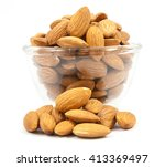 Bowl Wood Of Almonds Isolated...
