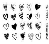 hand drawn doodle hearts set.... | Shutterstock .eps vector #413386753