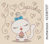 cute cartoon cat with cupcake... | Shutterstock . vector #413387557