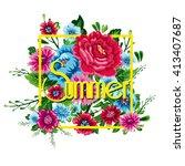 floral summer graphic design... | Shutterstock .eps vector #413407687