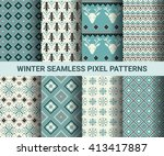 collection of pixel retro... | Shutterstock .eps vector #413417887