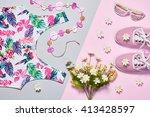 summer. summer fashion girl... | Shutterstock . vector #413428597