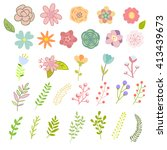 set of vector flowers  leaves ... | Shutterstock .eps vector #413439673
