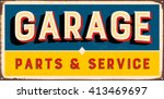 Vintage Metal Sign   Garage...