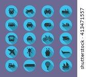 flat transport icons.... | Shutterstock .eps vector #413471557