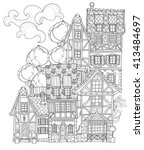 vector cute fairy tale town... | Shutterstock .eps vector #413484697
