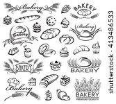 monochrome collection of bread... | Shutterstock .eps vector #413486533