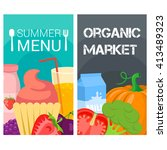 organic food bright banners.... | Shutterstock .eps vector #413489323
