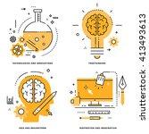 flat line vector set.... | Shutterstock .eps vector #413493613
