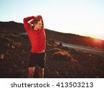 athletic young man stretching... | Shutterstock . vector #413503213