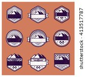adventure badge.set of retro... | Shutterstock .eps vector #413517787