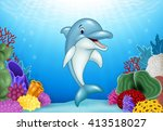 cute dolphin with beautiful... | Shutterstock .eps vector #413518027