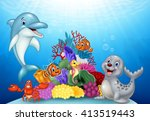 cartoon tropical fish with... | Shutterstock .eps vector #413519443
