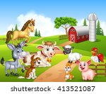 farm background with happy... | Shutterstock .eps vector #413521087