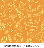 birthday party doodle seamless... | Shutterstock . vector #413522773