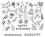 birthday party doodle | Shutterstock . vector #413522797
