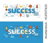 success lettering flat line... | Shutterstock .eps vector #413537623