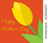tulip mother's day card in... | Shutterstock .eps vector #413551657
