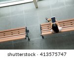 top view of woman use of...   Shutterstock . vector #413575747