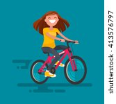 Happy Girl Riding A Bicycle....