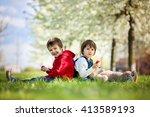 two cute little children  boy... | Shutterstock . vector #413589193