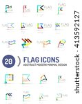 flag icon logo vector... | Shutterstock .eps vector #413592127