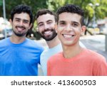 latin man with two friends in... | Shutterstock . vector #413600503