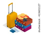 travel bags  passport  photo... | Shutterstock .eps vector #413601127