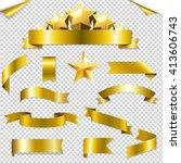set golden ribbons and stars ... | Shutterstock .eps vector #413606743