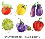 watercolor illustration of the... | Shutterstock . vector #413615047