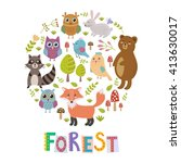 forest circle shape background...   Shutterstock .eps vector #413630017