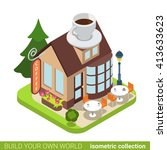 coffee cafe restaurant building ... | Shutterstock .eps vector #413633623