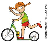 girl and scooter  vector... | Shutterstock .eps vector #413655193