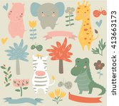 Vector Set Of Safari Animals....