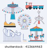 amusement park icons | Shutterstock .eps vector #413664463