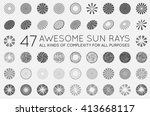 set of sunburst vector rays of... | Shutterstock .eps vector #413668117
