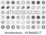 Set Of Sunburst Vector Rays Of...