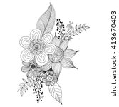 flower doodle drawing freehand... | Shutterstock .eps vector #413670403