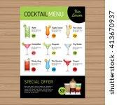 cocktail menu design. alcohol... | Shutterstock .eps vector #413670937