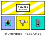 vector 80's or 90's stylish... | Shutterstock .eps vector #413673493