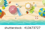 seamless beach resort with... | Shutterstock .eps vector #413673727
