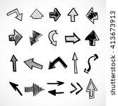 hand drawn arrows  vector set | Shutterstock .eps vector #413673913
