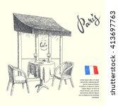 paris. graphic illustration of... | Shutterstock .eps vector #413697763