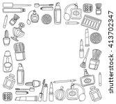vector doodle set of perfume... | Shutterstock .eps vector #413702347