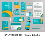 green branding design kit.... | Shutterstock .eps vector #413712163
