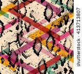 snake skin texture seamless... | Shutterstock .eps vector #413713807