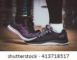 closeup of sneakers. girl... | Shutterstock . vector #413718517