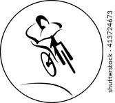 vector bicycle racer | Shutterstock .eps vector #413724673