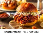 homemade vegan pulled jackfruit ... | Shutterstock . vector #413735983